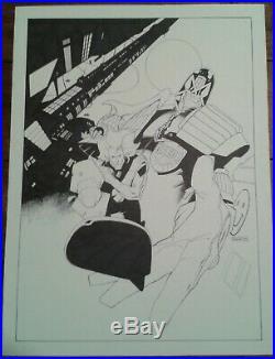 2000ad Original Art Judge Dredd and Chopper Cover Poster Prog Colin MacNeil