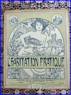 Alphonse Mucha Original Vintage Magazine Cover L'habitation 1903