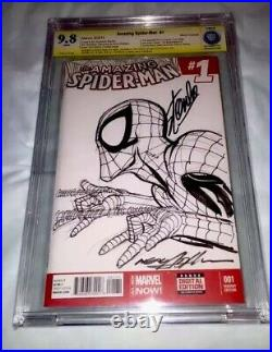 Amazing Spider-man #1 Original Art Hand Sketch Neal Adams & Stan Lee 9.8 Ss Cbcs