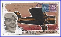 Amelia Earhart Aviation Pioneer Autographed 1932 Postal Cover with Original Art