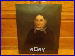 Antique 19th. Oil Portrait Painting of a Woman with a Tied Lace Head Cover