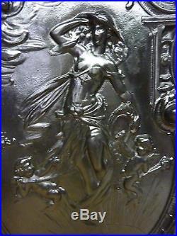 Antique Art Nouveau Cast Iron Partially Nude Maiden Cherubs Fireplace Cover Back