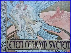 Art Nouveau Alphonse Mucha 1898 Original Litographic Cover Letem Ceskym Svetem