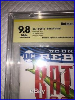 Batman #1 Blank Cover Cbcs 9.8 Ss Original Art Poison Ivy Tucci & Varese