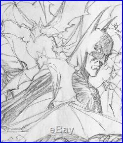 Berni Wrightson Batman Vs Aliens splash page Original pencil art Signed