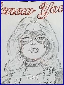 Black Cat Original Sketch Cover Art by co-creator, Keith Pollard with COA (Marvel)