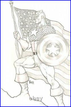 Captain America Original Art to Print Signed art by Billy Tucci