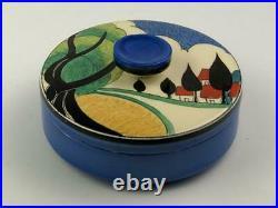 Clarice Cliff May Avenue Covered Powder Dish. Wow! Art Deco original. Circa