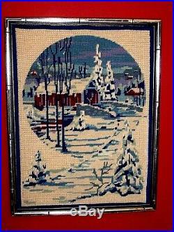 Covered Bridge Night Snow Winter Landscape Original Needlepoint Crewel Christmas