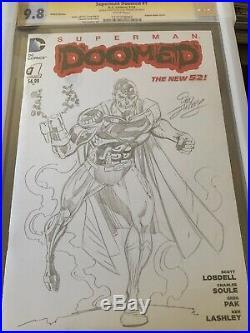 Cyborg Superman Original Art Sketch Cover By Creator Dan Jurgens Cgc 9.8