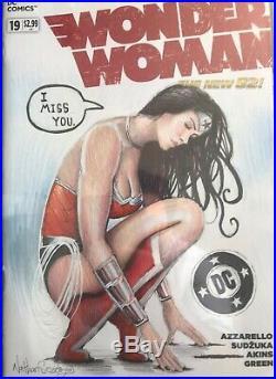 DC Wonder Woman Sketch Cover Original Art by Nathan Szerdy CGC SS 9.8