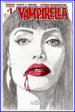 DYNAMITE Comics VAMPIRELLA #1 Original Art Blank Sketch Cover BLOOD ANGELINA SEX