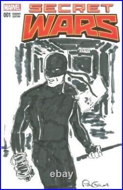Daredevil Original Art Sketch by Pia Guerra on Secret Wars #1 Blank Cover