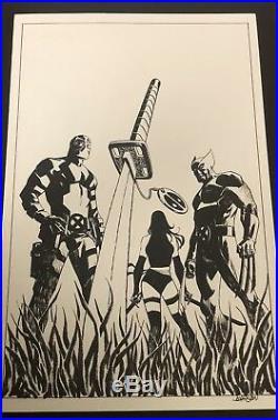 Dead-Pool #50 Original Cover Art by Dave Johnson! Wolverine Psylocke Deadpool