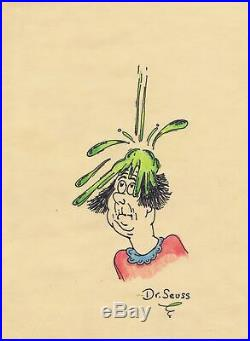 Dr. Seuss Original Crayon Paper Drawing Signed Man Covered in Oobleck Barthol