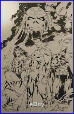 Ed Benes DC Online Cover Superman Batman Wonder Woman Original Comic Art