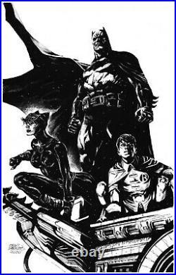 Eddy Barrows Batman Catwoman Robin Original Art Pinup Commission Cover Quality