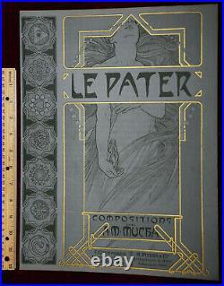 Exrare Original 1899 Alphonse Mucha Le Pater Cover Huge Gold Art Nouveau Beauty