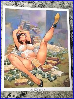 Female Original Art Pinup Oil Painting Erotic Pulp Cover Drugs Money Narcos Cash