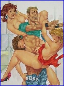 Foursome Sexy Babes Breasts Lucky Guy Original Mexican Comic Cover Art