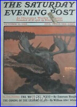 Framed Saturday Evening Post Cover 1905 Original Artwork by Phillip Goodwin