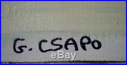 Geno Csapo Original Canvas Snow Covered Square Horse Drawn Sleigh Eastern Europe