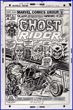 Ghost Rider #6 John Romita 1974 Original Marvel Comic Cover Proof Production Art