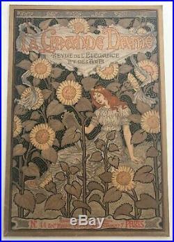 Grasset'la Grande Dame Vintage Original1896 Magazine Cover Gold Ink Lithograph