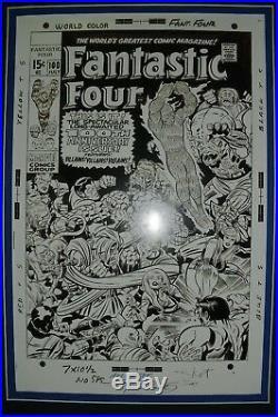 JOE SINNOTT signed copy of Original art FANTASTIC FOUR #100, matted withcover copy