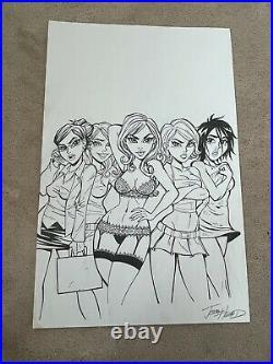 JOSH HOWARD of Dead @17 Pin Up Cover ORIGINAL ART Five Sexy Cute Girls Women