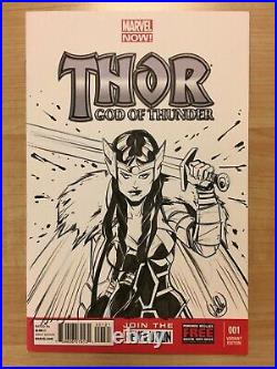 Joelle Jones Original Comic Art Sketch Commission Blank Cover Thor #1 Lady Sif