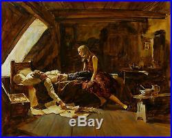 Len Thurston ORIGINAL ARTWORK illustration woman admires sleeping man book cover