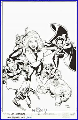 Leonard Kirk 2008 Avengers 21 Original Cover Art-cap, Hulk, Spider-man, Storm