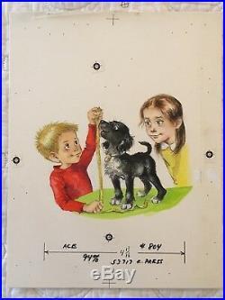 Lillian Obligado Little Black Puppy COVER LGB Original Illustration Painting Art
