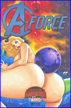MARVEL COMICS A-FORCE #1 Original Art Blank Sketch Cover SHE-HULK DAZZLER ASS