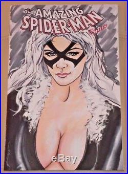 MARVEL Comics BLACK CAT Original Art Sketch Cover SPIDER-MAN VENOM CARNAGE GWEN