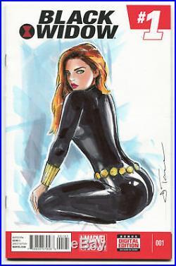MARVEL Comics BLACK WIDOW #1 Original Art Sketch Cover AVENGERS THANOS HULK THOR