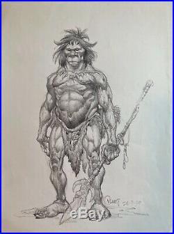 MIKE PLOOG Original very detailed PREHISTORIC MAN 1999 Original Art