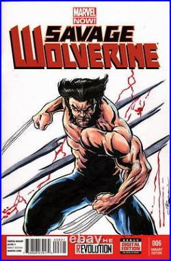 Marvel Sketch Cover SAVAGE WOLVERINE Original Color Artwork Artist DAMON BOWIE