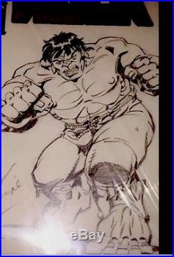 ORIGINAL ART BY HERB TRIMPE HULK 181 PIN UP On HULK #50 BLANK COVER