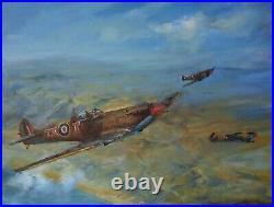 ORIGINAL MARTIN ULBRICHT OIL Spitfire High Cover Over Sicily 1943 PAINTING