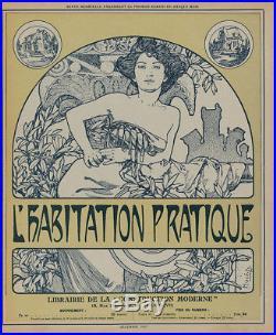 Original 1907 Wood Engraving Alfons Mucha L'Habitation Pratique Cover