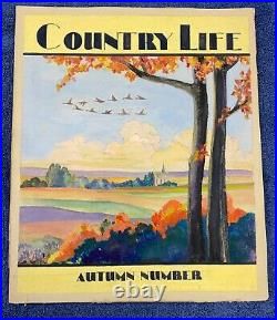 Original 1920s 1930s COUNTRY LIFE MAGAZINE ILLUSTRATED Cover Watercolor Art 12