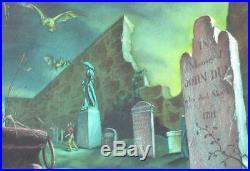 Original Art Pulp Illustration Vampire Bat Horror Cover Painting Halloween Grave