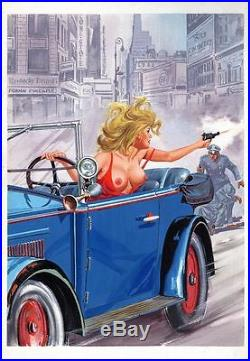 Original Bonnie & Clyde Gangster Pinup Illustration Pulp Cover Art Painting Aaa+