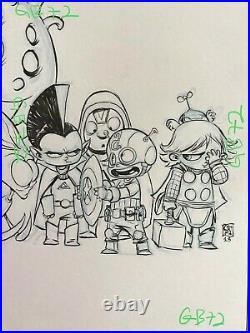Original Cover Art SKOTTIE YOUNG INFINITY # 5 signed variant baby marvel sketch