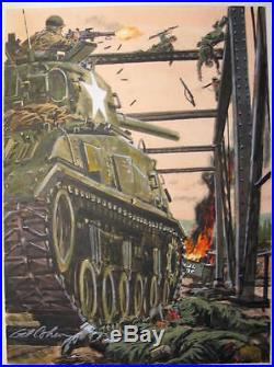 Original Gil Cohen Pulp Illustration Cover Art Painting Ww2 Military Panzer