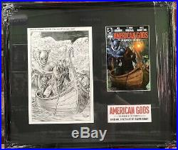 Original Glenn Fabry American Gods Comic Book Cover Art Issue #4 Mounted Framed