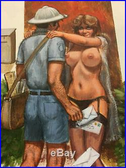 Original Greenleaf ART Private Reader Cover Mailman 9.5 x 13.5 Painting Postal