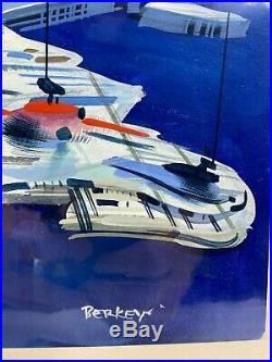 Original John Berkey Preliminary Painting Time Magazine Cover Europa Spaceship